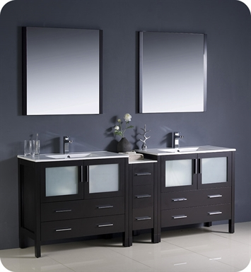 "Fresca FVN62-361236ES-UNS Torino 84"" Double Sink Modern Bathroom Vanity with Side Cabinet and Integrated Sinks in Espresso"