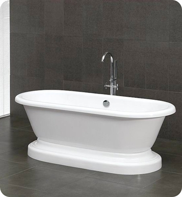 Cambridge Plumbing ADEP-NH 70 inch Acrylic Double Ended Pedistal Tub With Faucet Holes: No Holes