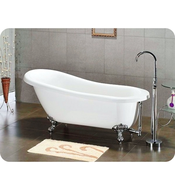 "Cambridge Plumbing AST67-7DH-BN Acrylic Slipper Bathtub With Tub Feet Finish: Brushed Nickel And Faucet Holes: 7"" Deck Mount Faucet Drillings"