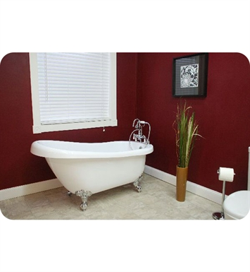 "Cambridge Plumbing AST61-7DH-BN Acrylic Slipper Bathtub With Tub Feet Finish: Brushed Nickel And Faucet Holes: 7"" Deck Mount Faucet Drillings"