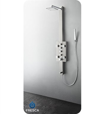 Fresca FSP8002BS Lecco Shower Massage Panel with Thermostatic Valve and Stainless Steel Body in Brushed Silver