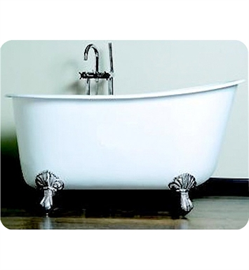 Cambridge Plumbing SWED54-NH-CP 54 inch Cast Iron Swedish Slipper Clawfoot Tub With Tub Feet Finish: Polished Chrome
