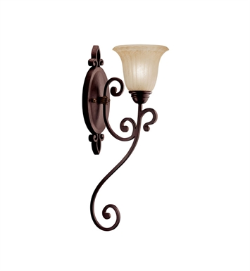 Kichler 5987CZ Wilton Collection Wall Sconce 1 Light in Carre Bronze