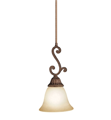 Kichler Larissa Collection Mini Pendant 1 Light in Tannery Bronze with Gold Accent