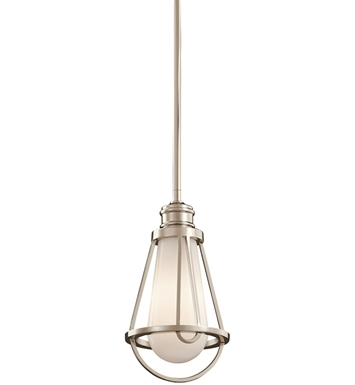 Kichler 42225PN Saddler Collection Mini Pendant 1 Light in Polished Nickel