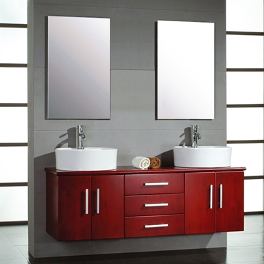 Cambridge Plumbing 5044 59 inch Solid Wood Wall Mount Double Vanity Set