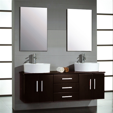 Cambridge Plumbing 5044-D 59 inch Double Bathroom Wall Mounted Wood Vanity Set