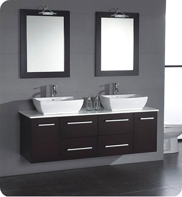 Cambridge Plumbing 8113 63 inch Solid Wood & Porcelain Double Sink Vanity Set