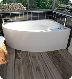 "Neptune 10.15516.5500.10 WI60G Wind WI60D 60"" White Corner Bathtub with Skirt, Left Side Drain & Integrated Tiling Flange"