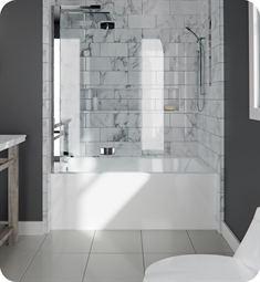 "Neptune Entrepreneur E10.21112.5000.10 ALBA3260 Albana 59 3/4"" White Alcove Rectangular Bathtub with Skirt, Right Side Drain & Integrated Tiling Flange"