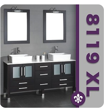 Cambridge Plumbing 8119XL-BN 71 inch Solid Wood Double Bathroom Vanity Set With Faucet Finish: Brushed Nickel