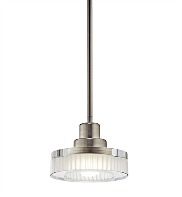 Kichler 10718NI Tierra Collection Mini Pendant 1 Light Fluorescent in Brushed Nickel