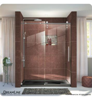 "DreamLine SHDR-6260760-08 Enigma-Z Fully Frameless Sliding Shower Door With Dimensions: W 56"" to 60"" And Finish: Polished Stainless Steel"