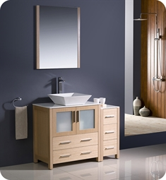 "Fresca Torino 42"" Light Oak Modern Bathroom Vanity with Side Cabinet and Vessel Sink"