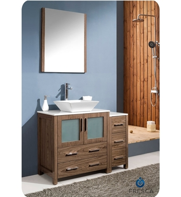 "Fresca FVN62-3012WB-VSL Torino 42"" Modern Bathroom Vanity with Side Cabinet and Vessel Sink in Walnut Brown"