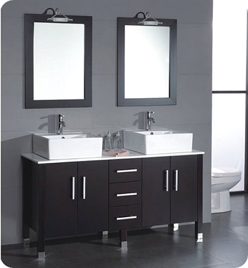 Cambridge Plumbing 8128 60 inch Solid Wood & Porcelain Double Vessel Sink Vanity Set