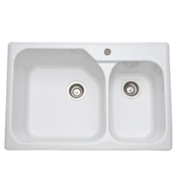 "Rohl 6317-63 Allia 33 1/4"" Double Bowl Undermount/Drop-In Fireclay Kitchen Sink with Right Side Small Bowl With Finish: Matte Black"