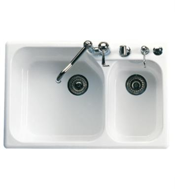 "Rohl 6327-63 Allia 33 1/4"" Double Bowl Undermount/Drop-In Fireclay Kitchen Sink with Right Side Small Bowl With Finish: Matte Black"