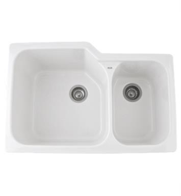 "Rohl 6337-68 Allia 33"" Double Bowl Undermount Fireclay Kitchen Sink with Right Side Small Bowl With Finish: Pergame (Biscuit)"