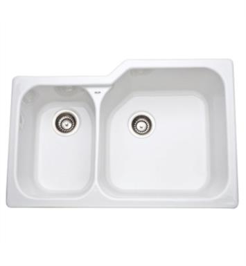 "Rohl 6339-63 Allia 33"" Double Bowl Undermount Fireclay Kitchen Sink with Left Side Small Bowl With Finish: Matte Black"
