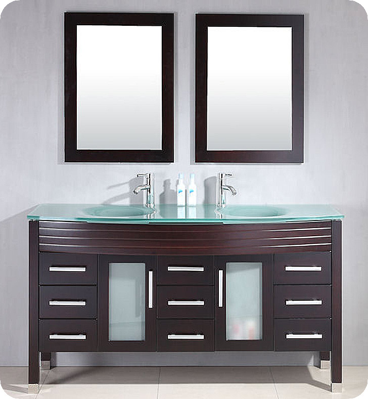 Cambridge Plumbing 8129 63 Inch Wood Glass Double Sink Vanity Set