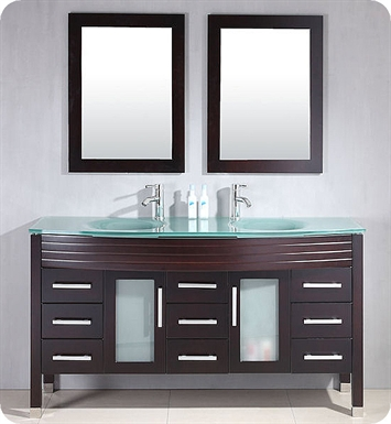Cambridge Plumbing 8129-BN 63 inch Wood & Glass Double Sink Vanity Set With Faucet Finish: Brushed Nickel