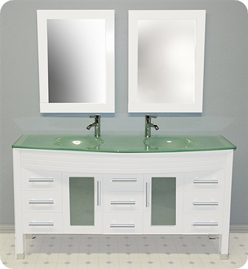 Cambridge Plumbing 8129W 63 inch White Wood & Glass Double Sink Vanity Set