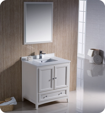 "Fresca FVN2030AW Oxford 30"" Traditional Bathroom Vanity in Antique White"