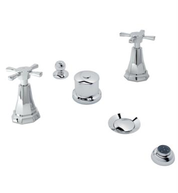 Rohl U.3991X-APC Perrin and Rowe Deco Five Hole Deck Mounted Bidet Faucet with Cross Handles With Finish: Polished Chrome And Handles: Cross Handles