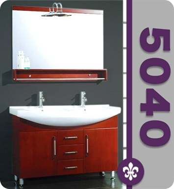 Cambridge Plumbing 5040 48 inch Wood and Porcelain Double Sink Vanity Set