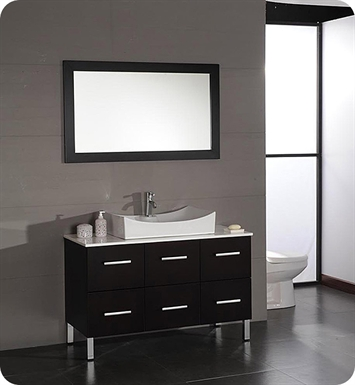 Cambridge Plumbing 8112 47 inch Modern Bathroom Vanity Set with Wood & White Porcelain Counter Top and Oversize Porcelain Vessel Sink