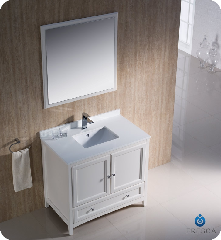 Fresca fvn2036aw oxford 36 traditional bathroom vanity in for Decorplanet bathroom vanities