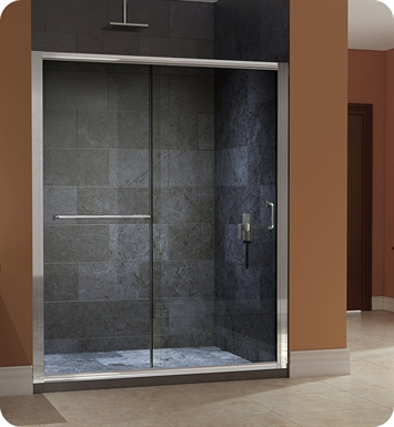 "DreamLine SHDR-0948720-04FR Infinity Z Sliding Shower Door With Dimensions: W 44 to 48"" x H 72"" And Finish: Brushed Nickel And Glass Type: Frosted Glass"