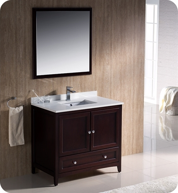 "Fresca FVN2036MH Oxford 36"" Traditional Bathroom Vanity in Mahogany"