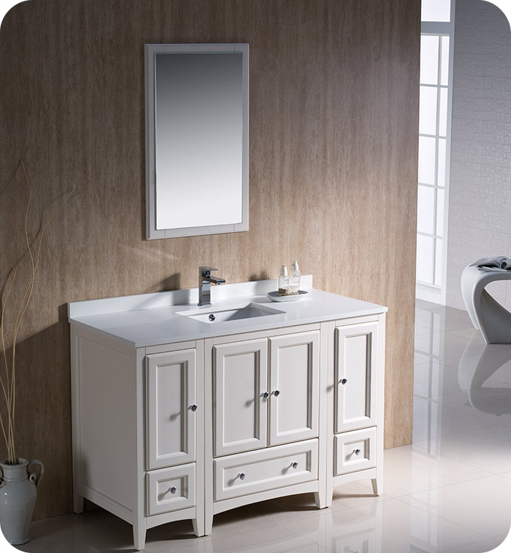 48 traditional bathroom vanity with 2 side cabinets in antique white