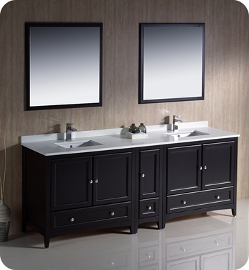 "Fresca FVN20-361236ES Oxford 84"" Traditional Double Sink Bathroom Vanity with Side Cabinet in Espresso"