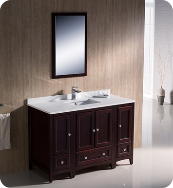 "Fresca FVN20-122412MH Oxford 48"" Traditional Bathroom Vanity with 2 Side Cabinets in Mahogany"
