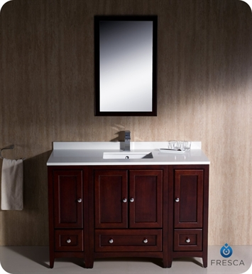 48 traditional bathroom vanity with 2 side cabinets in mahogany