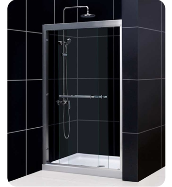 "DreamLine SHDR-1260728-04 Duet 44"" to 60"" Frameless Bypass Sliding Shower Door With Finish: Brushed Nickel And Dimensions: W 56"" to 60"""