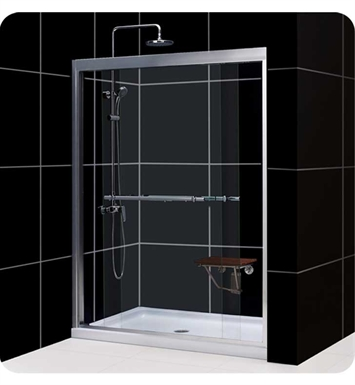 "DreamLine SHDR-1248728-04 Duet Bypass Sliding Shower Door With Dimensions: W 44"" to 48"" x H 72"" And Finish: Brushed Nickel"