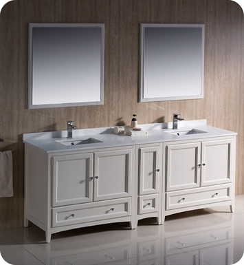 "Fresca FVN20-361236AW Oxford 84"" Traditional Double Sink Bathroom Vanity with Side Cabinet in Antique White"