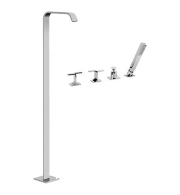 "Graff G-2354-LM40-PC Immersion 46 5/8"" Floor Mounted Tub Filler with Deck Mounted Handshower and Diverter With Finish: Polished Chrome And Handles: LM40 Handles"