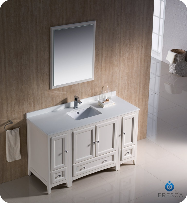 Fresca Fvn20 123012aw Oxford 54 Traditional Bathroom Vanity With 2 Side Cabinets In Antique White