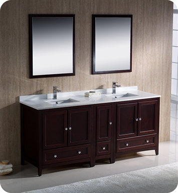"Fresca FVN20-301230MH Oxford 72"" Traditional Double Sink Bathroom Vanity with Side Cabinet in Mahogany"
