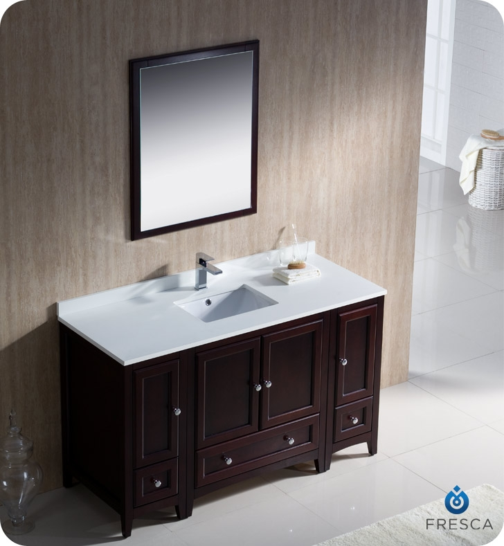 54 traditional bathroom vanity with 2 side cabinets in mahogany
