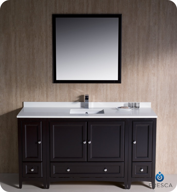 60 traditional bathroom vanity with 2 side cabinets in espresso