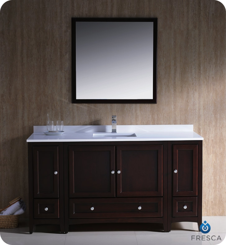 60 traditional bathroom vanity with 2 side cabinets in mahogany