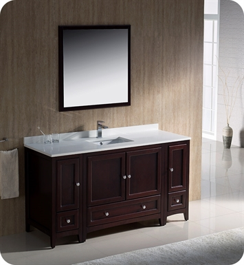 "Fresca FVN20-123612MH Oxford 60"" Traditional Bathroom Vanity with 2 Side Cabinets in Mahogany"