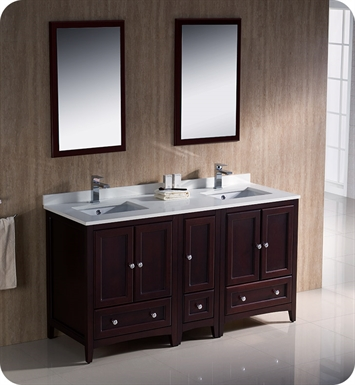 "Fresca FVN20-241224MH Oxford 60"" Traditional Double Sink Bathroom Vanity with Side Cabinet in Mahogany"