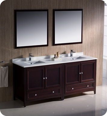"Fresca FVN20-3636MH Oxford 72"" Traditional Double Sink Bathroom Vanity in Mahogany"